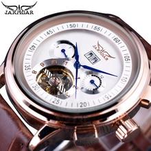 Jaragar Classic Men Watch Automatic Luxury Brand Date Day Tourbillon Business Brown Leather Male Clock Gentlemen Wristwatch Gift