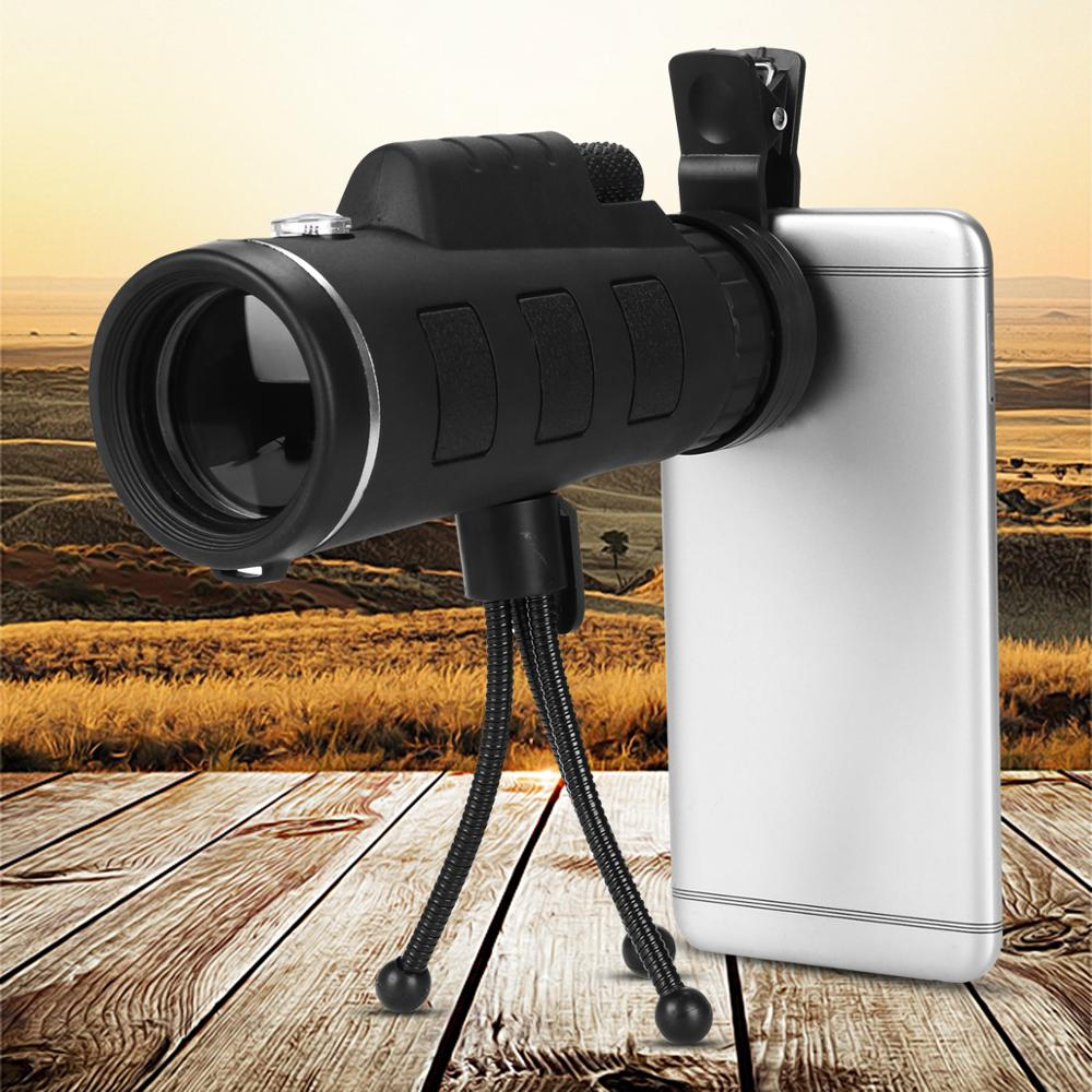 40X60 Monocular Telescope HD Mini Monocular Zoom Mobile Phone Lens for iPhone Samsung Smartphones + Compass + Phone Clip +Tripod image