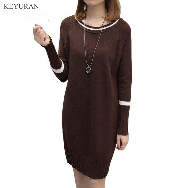 Vintage Long Sleeve Straight Sweater Dresses Women Spring Autumn Knee-Length Loose Plus size Panels Casual Basic Knitted Tunic cotton blend denim jeans casual elastic waist plus size straight pants for women spring autumn new fashion full length jln0616