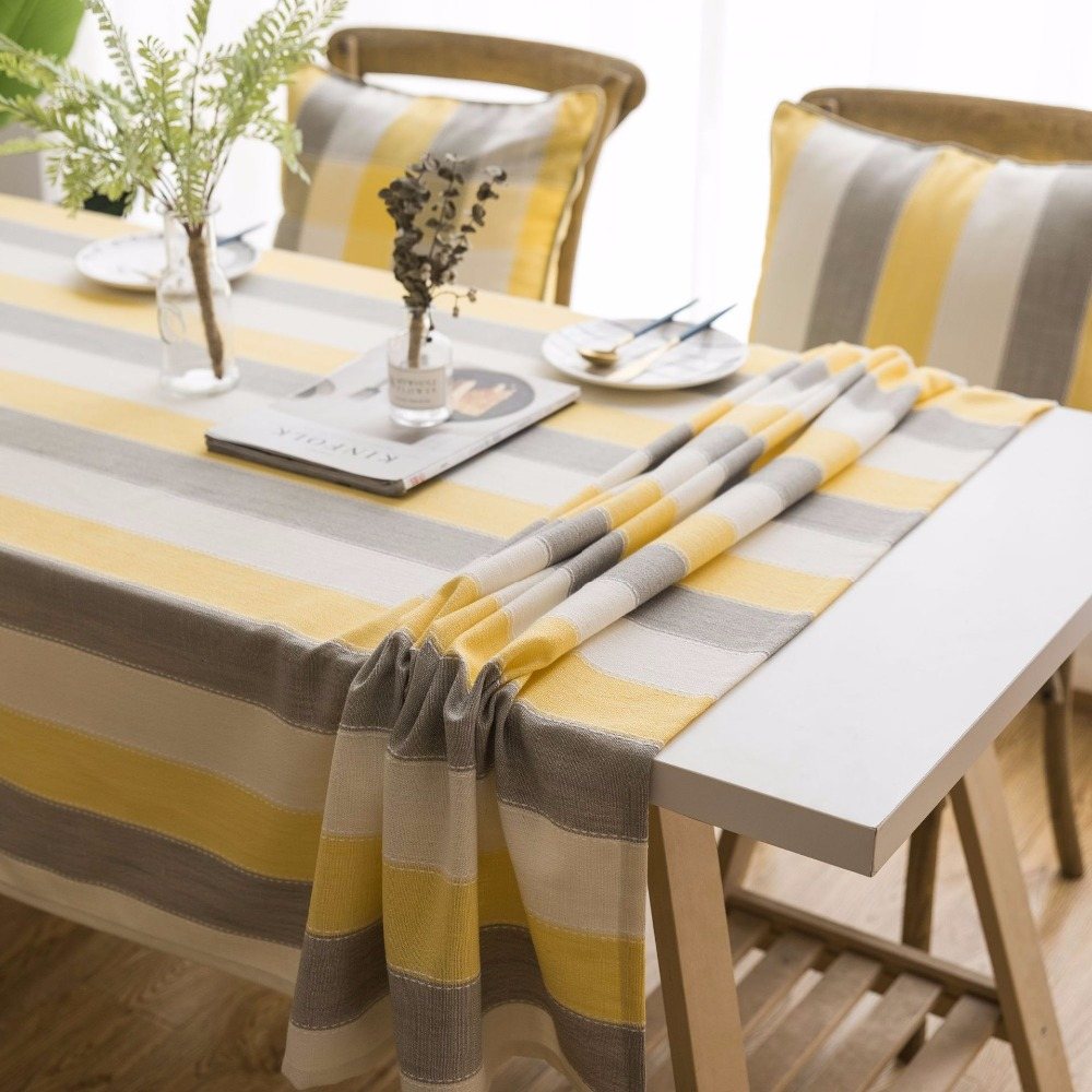 Nordic Striped Decorative Table Cloth Wedding Birthday Party Tablecloth Rectangle Round Dining Table Cover Furniture Cover Cloth