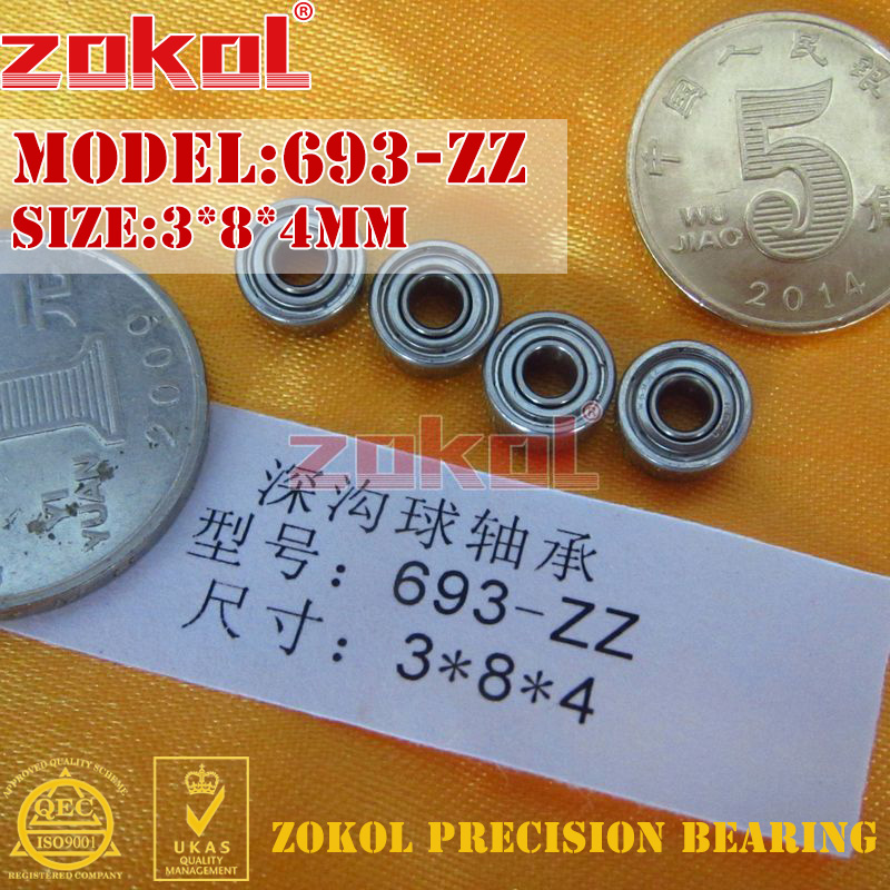 ZOKOL Bearing 693 ZZ Z 693zz 693Z Bearing Miniature  Deep Groove Ball Bearing 3*8*4mm