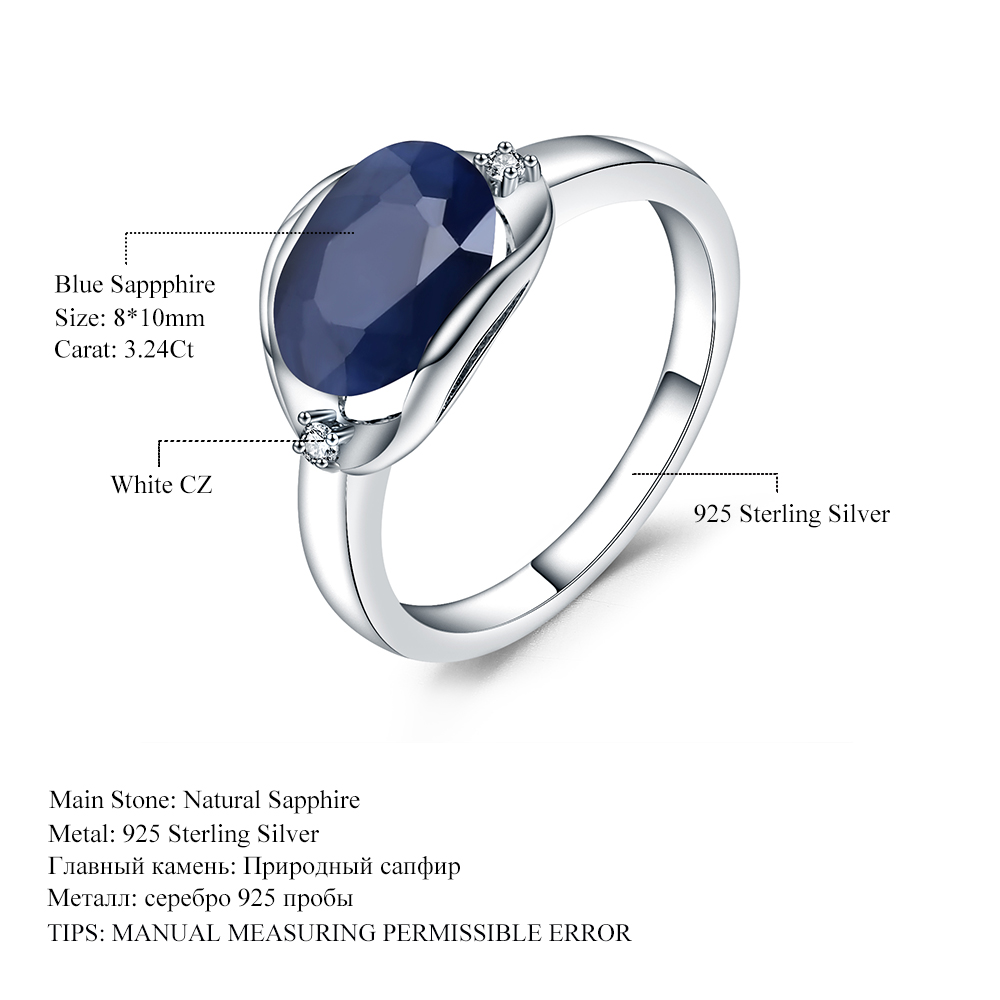Image 5 - GEMS BALLET New 3.24Ct Natural Blue Sapphire Rings Real 925  Sterling Silver Classic Oval Ring For Women Anniversary Fine GiftRings