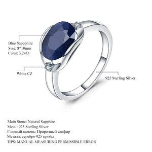 Image 5 - GEMS balet nowy 3.24Ct naturalny błękitny szafir pierścienie prawdziwe 925 Sterling Silver klasyczny owalny pierścień dla kobiet rocznica fajny prezent