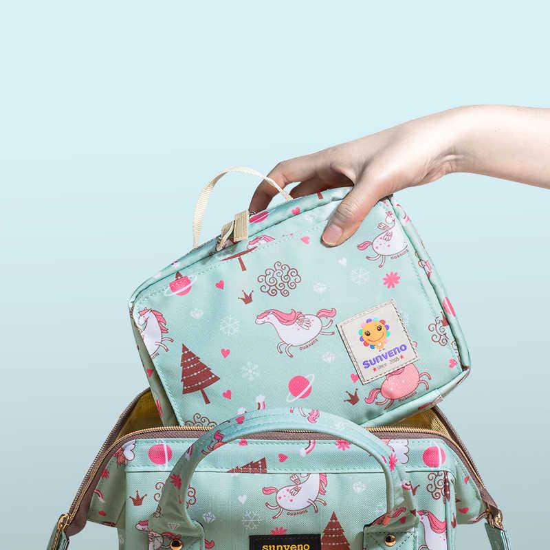 Sunveno กระเป๋าผ้าอ้อมเด็กกระเป๋าคลอดสำหรับทิ้ง Reusable แฟชั่นพิมพ์เปียกผ้าอ้อมกระเป๋าคู่ Wetbags 21*17*7 ซม.