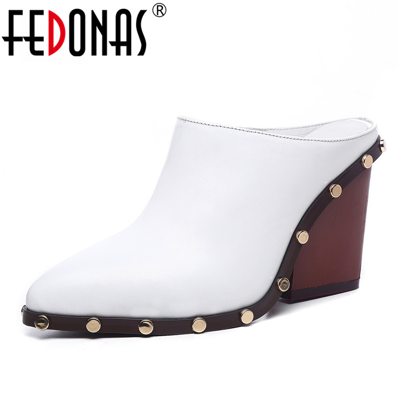 FEDONAS Brand Rome Pumps For Women Genuine Leather High Heels Comfort Casual Shoes Woman Mules Shoes Ladies Rivets Party Pumps facndinll 2018 spring women pumps shoes med heels pointed toe rivets patent leather rome style shoes woman casual shoes pumps