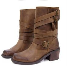 Women Autumn Winter Genuine Leather Retro Shoes Thick Hoof Heels Buckle Round Toe New Arrival Mid Calf Lady Boots Plus Size 40