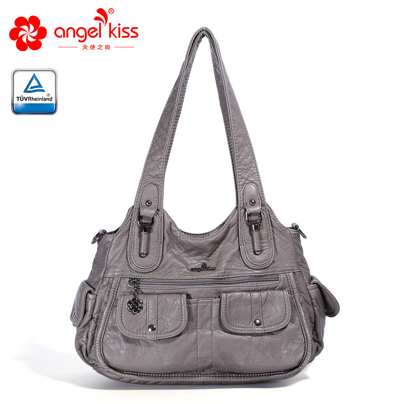Angelkiss 2019 NEW Hot Selling Casual Hobos PU Wash Fashion Handbag Leather Womens Tote Shoulder Bags