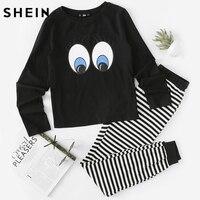 SHEIN Autumn Casual Women Sleepwear Black And White Long Sleeve Eye Print Top And Striped Sweatpants