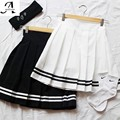 Women's cute College wind Plus Size Xs-4xl Uniforms skirt For Women Students High Quality Solid color High waist Pleated skirts