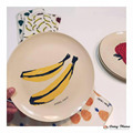 Bobo Choses Pattern Fruit Service Plate Tray Ins Banana Apple Pear Pineapple Diameter Size 22cm Baby Dishes Kids Food Cicishop