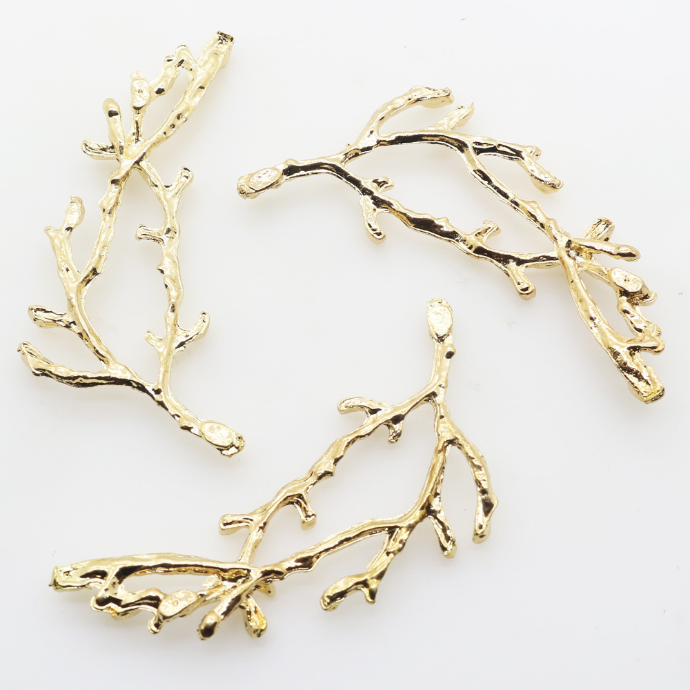 New10Pcs 58*23mm Gold Metal Branches Diy Jewelry Accessories Rhinestones Pedestal Holiday Party Caps Decoration Gold Color