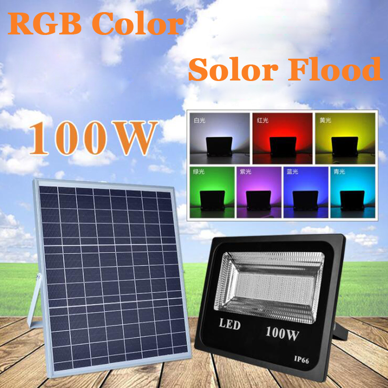 10PCS 50W 100W LED Solar Flood Light RGB Colorful Outdoor Floodlight Garden Wall Solar Powered LED Flood Light Remote Controller