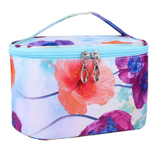 Fashion Vintage Floral Flower Printed Portable Cosmetic Bag Zipper Handbag Women Ladies Travel Make Up Bags