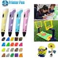 Seudónimo Lix Dibujo 3d pluma Impresión 3D Pen For Kids Regalos Plumas 20colorsX10meters Impresora ABS/PLA Filamento de alambre