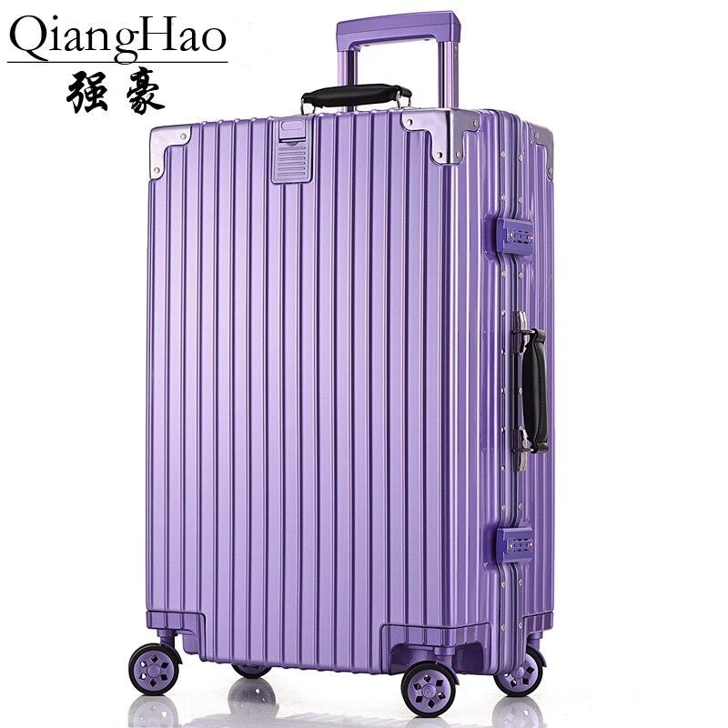4 Sizes Vintage Travel Trolley Luggage Suitcase PC Aluminum Frame With TSA Lock Hardside Rolling Luggage Suitcase With Wheels