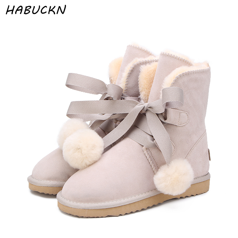 HABUCKN genuine leather fashion girls lace-up short suede  snow boots for women sheep fur lined winter shoes flats brown