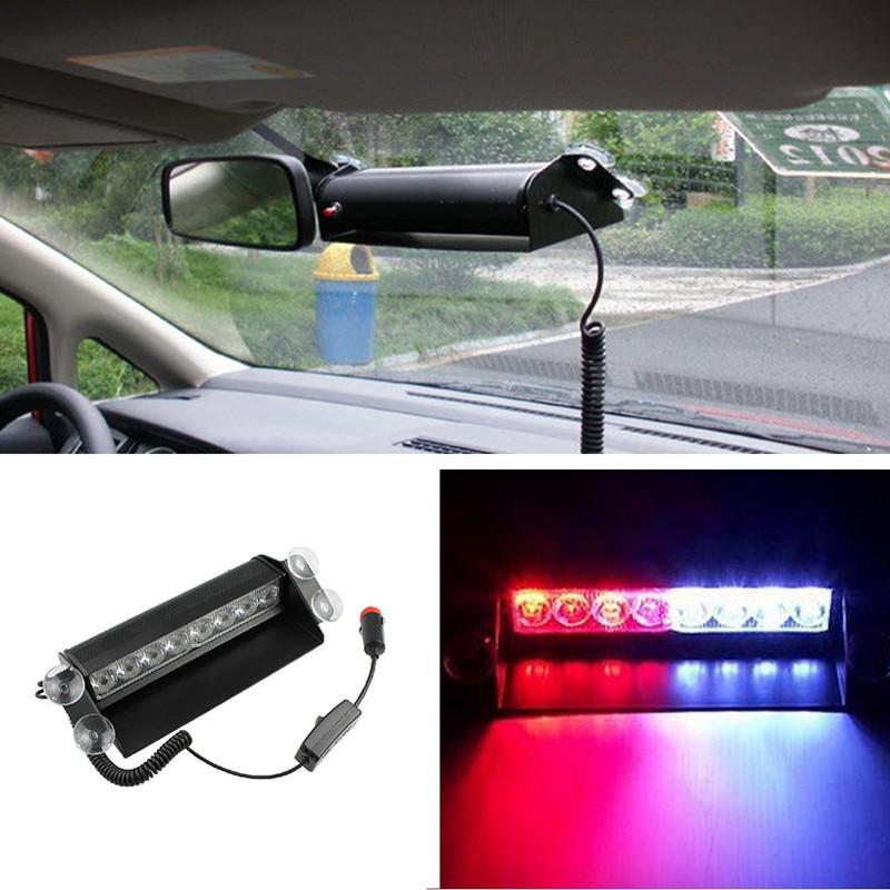 8 LED Red/Blue Car Police Strobe Flash Light Dash Emergency Warning 3 Flashing Fog Lights