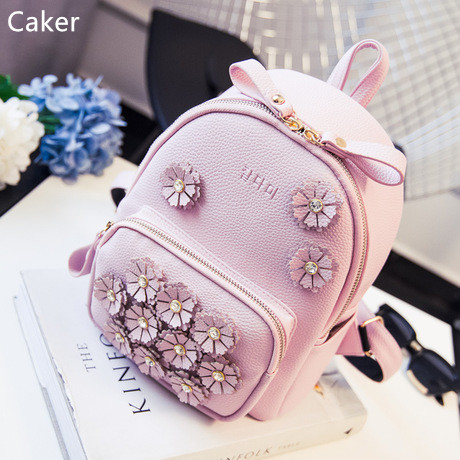 Caker 2017 Fashion Women Backpack High Quality Preppy Style School Bags Black Pink Grey Flower Diamonds