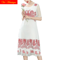 floral silk summer dress robe femme ete 2018 plus size women dresses beach long sexy boho party bohemian white with red flower