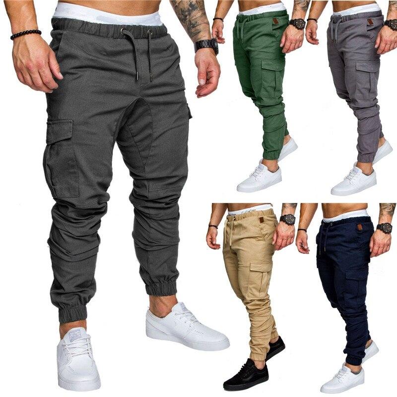 2019 New Autumn Men Casual Pants Solid Color Harem Sweatpants Male Cotton Multi-pockets Sportwear Baggy Cargo Pant Mens Joggers