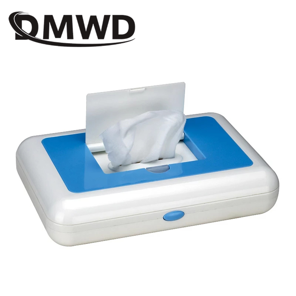 DMWD 110V/220V Portable Baby Wipes Heater Thermal Warm Wet Towel Dispenser Napkin Heating Box Home/Car Use Mini Wipe Warmer Case