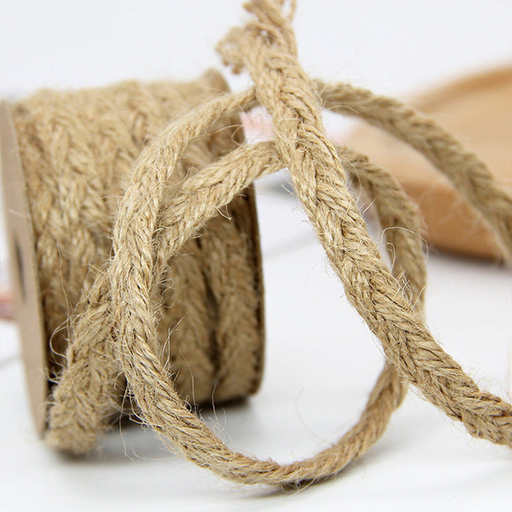 JOJO BOWS 10m 10mm Hemp Rope Ribbon Jute Burlap Webbing For Needlework Gift Box Card Wrapping DIY Craft Supplies Apparel Sewing in Cords from Home Garden