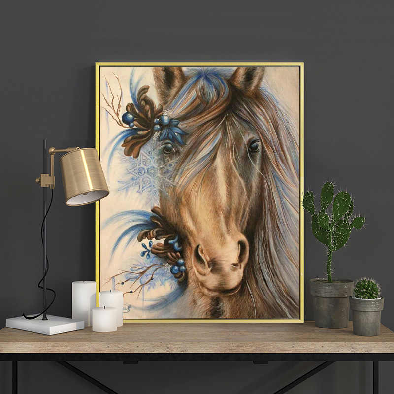 Meian Cross Stitch Embroidery Kits 14CT Horse Animal Cotton Thread Painting DIY Needlework DMC New Year Home Decor VS-0047