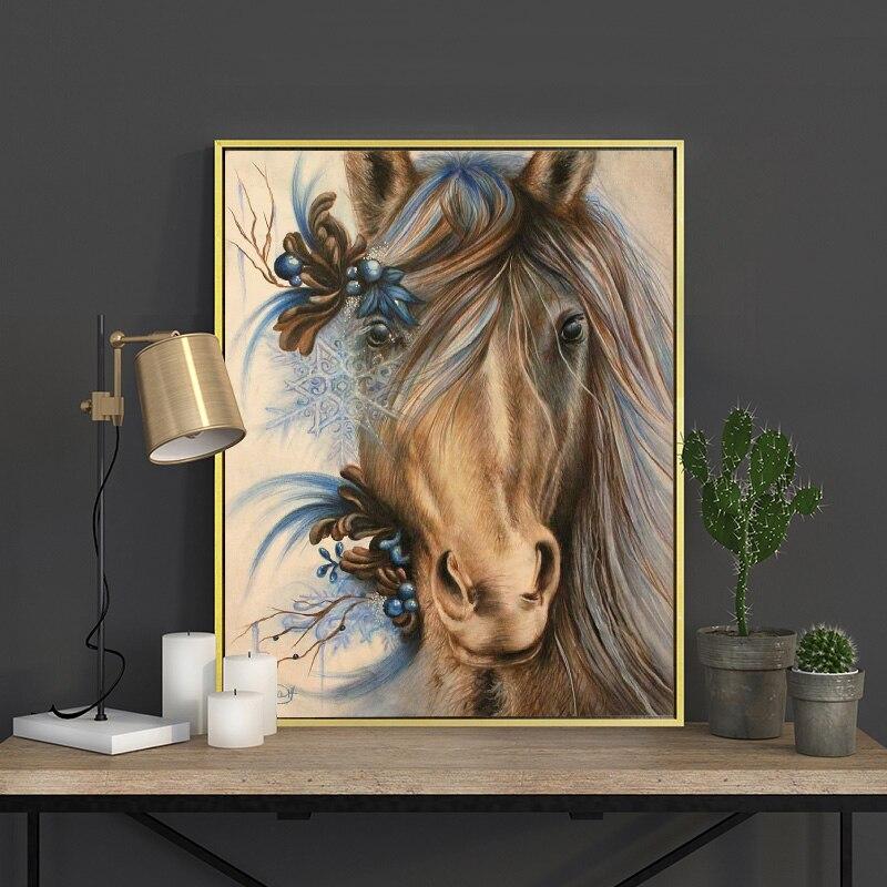 Meian Cruz puntada bordado Kits 14CT caballo Animal hilo de algodón pintura DIY costura DMC decoración casera del Año Nuevo VS- 0047