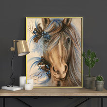 Meian Cross Stitch Embroidery Kits 14CT Horse Animal Cotton Thread Painting DIY Needlework DMC New Year Home Decor VS-0047(China)