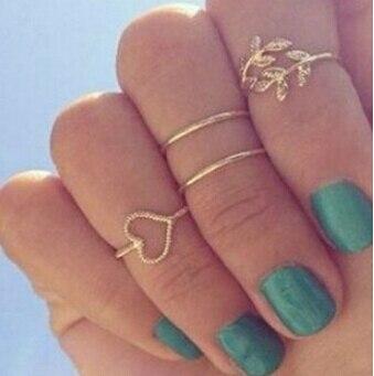 Moda querida Rhinestone folha folhas médio - anel de dedo Set frete grátis 4 Pcs Set