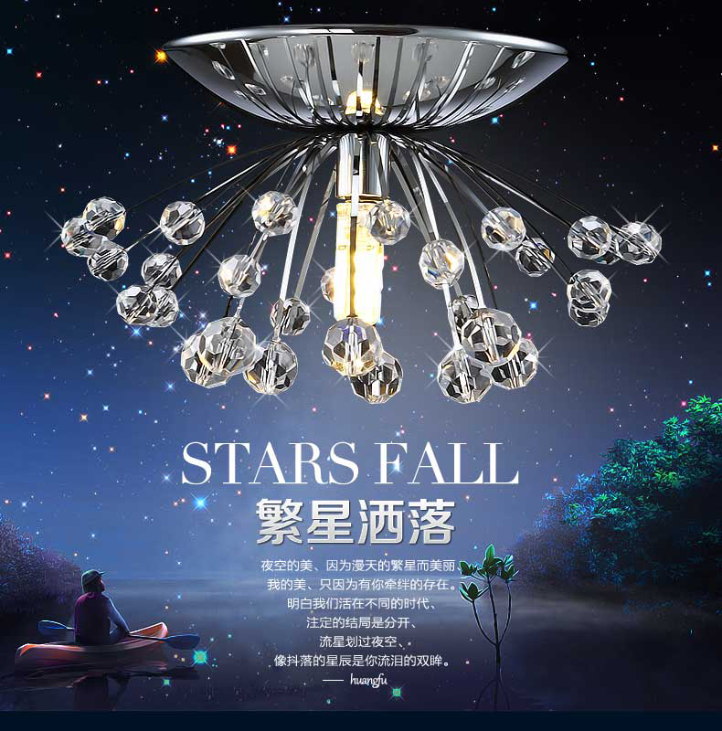 Crystal combination designers creative personality dandelion stainless steel crystal lamp small porch ceiling lamps K9 ZA SJ39Crystal combination designers creative personality dandelion stainless steel crystal lamp small porch ceiling lamps K9 ZA SJ39