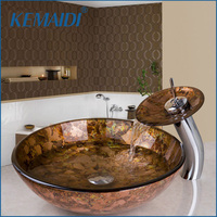 KEMAIDI Bathroom Sink Washbasin Tempered Glass Hand Painted Waterfall Chrome Faucet Lavatory Combine Brass Set Tap