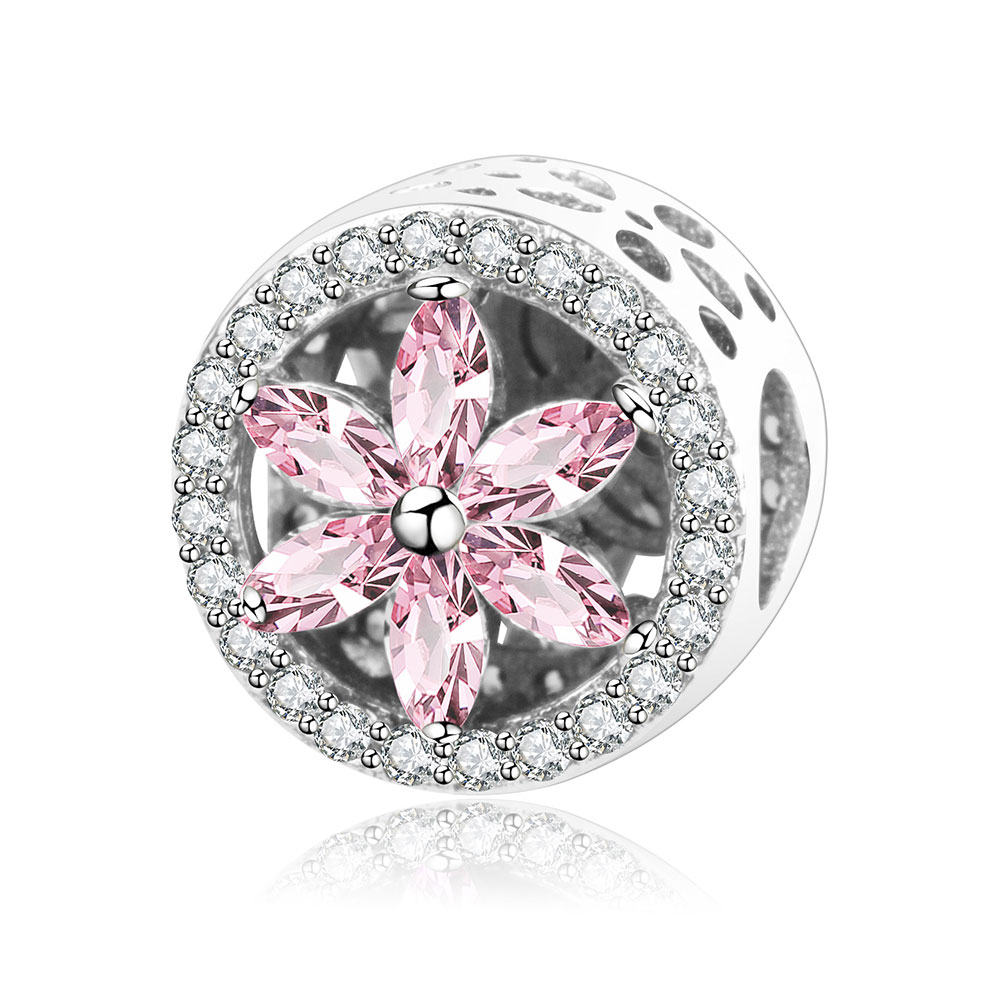 925 Sterling Silver Flower Charm Beads With Pink Clear CZ Fit Original Pandora Charms Bracelet Jewelry Making berloque Accessory