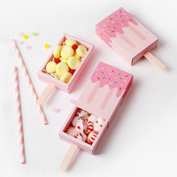 25 50PCS Natural Paper Ice Cream Box Craft Gift Box Wedding Candy Box Carton Packaging For