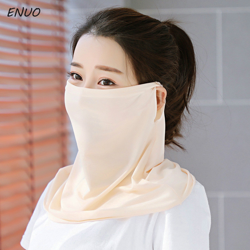 Summer Breathable Women Neck Protection Face Mask Sun Protective Shade Anti-dust Mask Mouth-muffle Mask Flu Face Masks