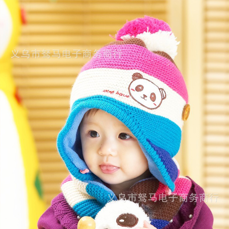 Winter crochet hooded baby hats Panda cap + scarf for children girls newborn outfits bonnet children clothes accessories
