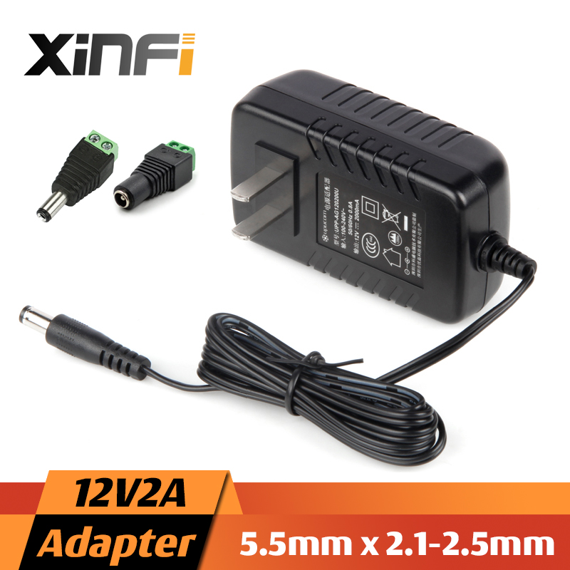 XinFi 12V2A 1A AC 100V-240V Power Adapter + DC Connector DC 12V2A 1A 2000mA Power Supply EU / US  5.5mm x 2.1-2.5mm for LED CCTV ac 110 240v to dc 12v 1a power supply adapter for cctv hd security camera bullet ip cvi tvi ahd sdi cameras eu us uk au plug
