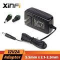XinFi 12V2A AC 100 V-240 V Adaptador de Corriente 1A + DC Conector DC 12V2A 1A 2000mA fuente de Alimentación de LA UE/EE.UU. 5.5mm x 2.1-2.5mm para LED CCTV