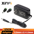 XinFi 12V2A AC 1A 100 В-240 В Адаптер Питания + ПОСТОЯННОГО ТОКА Разъем DC 12V2A 1A 2000mA Питания ЕС/США 5.5 мм х 2.1-2.5 мм для СВЕТОДИОДНЫХ CCTV