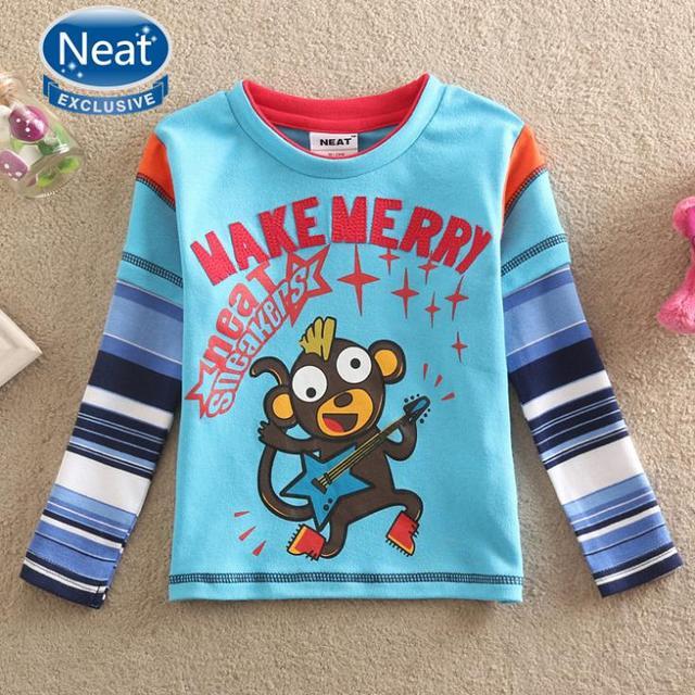 NEAT Primavera outono 2016 roupas de bebê menino T shirt da forma de música macaco esportes tutu T-shirt longo menino manga 100% cottonL882 #