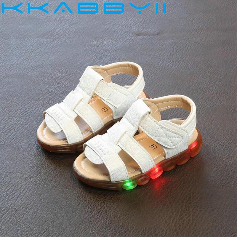 Brand Glowing Kids Sandals Shoes Boys Girls Flat Baby Led Luminous Lighting Sneakers Boys Beanch Sandals EU 21-30