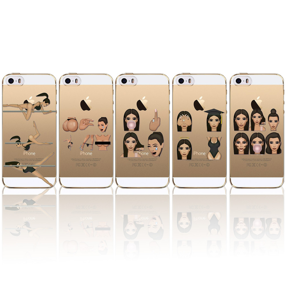 Crying Face Cases For iphone 5 5S SE Clear Ultrathin TPU Funny Face Kimoji Kim Kardashian Cover For Apple 5 5S SE Super Fashion