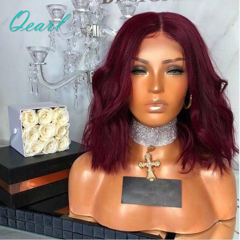 99j Burgundy Wavy Short Bob Lace Front Human Hair Wigs With Baby Hair Pre Plucked Middle