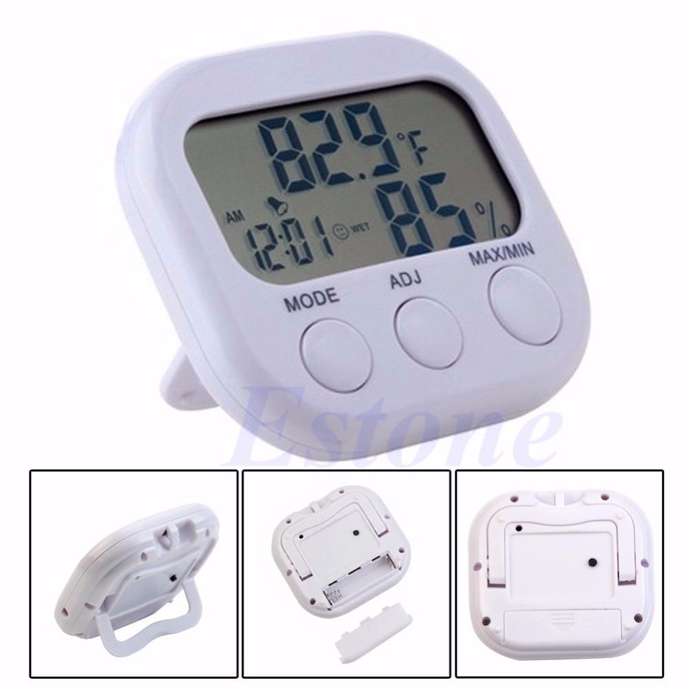 1 pc pour intérieur lcd numérique hygromètre humidité thermomètre mètre de la température jauge horloge