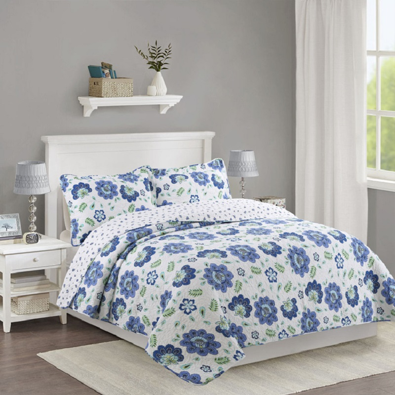 CHAUSUB Washed Cotton Summer Quilt Set 3PCS Blue Flowers Quilts quilted BedSpread Bed Covers Bedding King Size Coverlet BlanketCHAUSUB Washed Cotton Summer Quilt Set 3PCS Blue Flowers Quilts quilted BedSpread Bed Covers Bedding King Size Coverlet Blanket