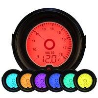 Car Styling Universal 52mm Voltage Meter Gauge 7 Colors LED Backlight Auto Car Motorcycle 12V Volt Gauge Measurement Range 9-18V