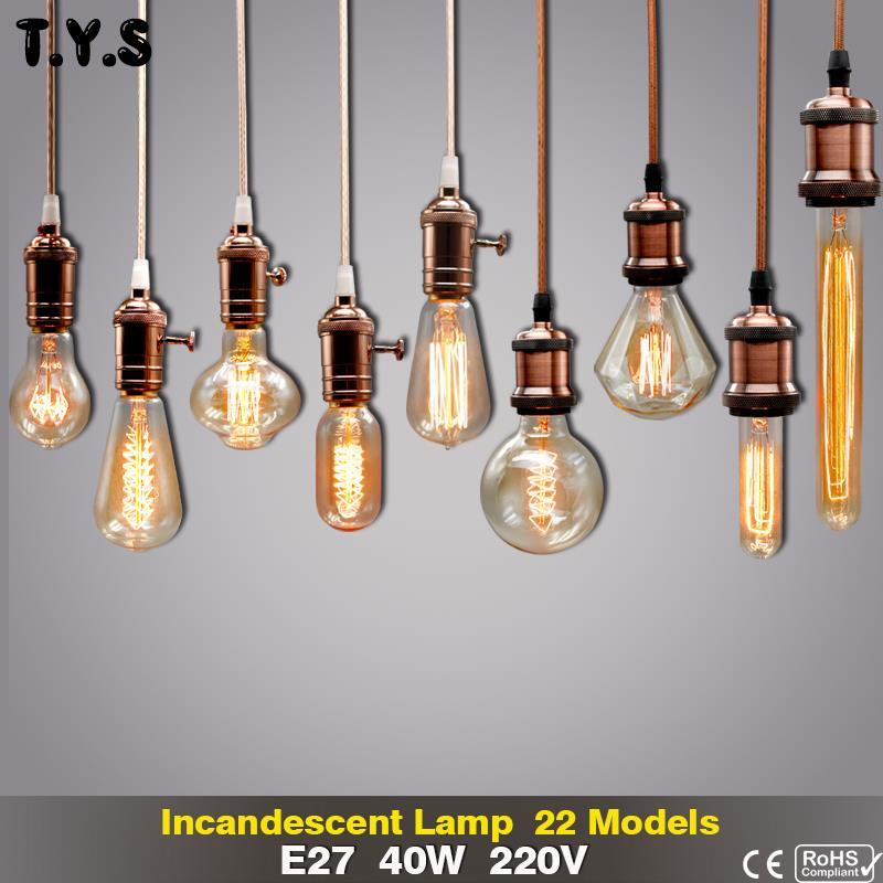 Retro Edison Light Bulb E27 40W 220V ST64 G95 G80 A19 T30 G125 A60 T185 T10 ST58 Ampoule Vintage Filament Incandescent Bulb Lamp