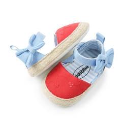 Модная повседневная обувь для девочек; Летняя детская обувь; Классическая хлопковая обувь с вышивкой и бантом в полоску для маленьких
