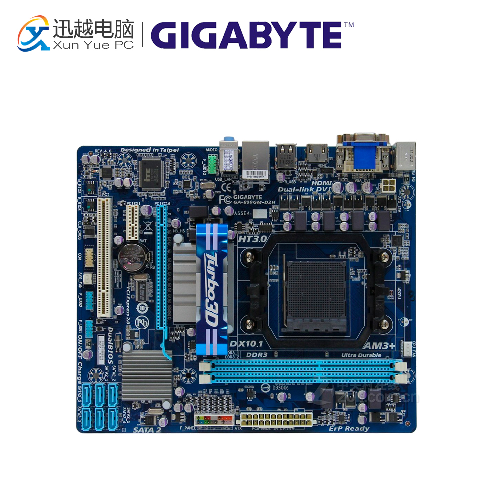Gigabyte GA-880GM-D2H Desktop Motherboard 880GM-D2H 880G Socket AM3 DDR3 SATA2 USB2.0 Micro ATX gigabyte ga ma785gmt us2h original used desktop motherboard amd 785g socket am3 ddr3 sata2 usb2 0 micro atx