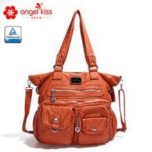 Angelkiss, брендовые сумочки с эффектом потертости, женские сумки через плечо, вместительные сумки, сумки для женщин, высокое качество, сумки-мессенджеры, женские кожаные сумки